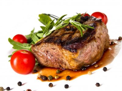 Beef,Steak,Medium,Grilled,,Isolated,On,White,Background